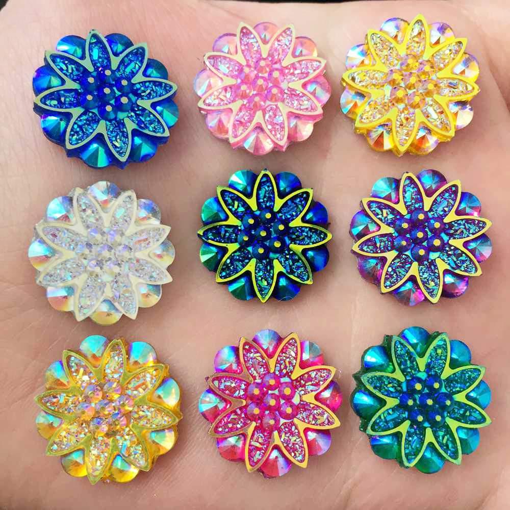 40PCS 12mm Glitters AB Resin Mineral Surface Heart Rhinestone Flatback DIYCrafts