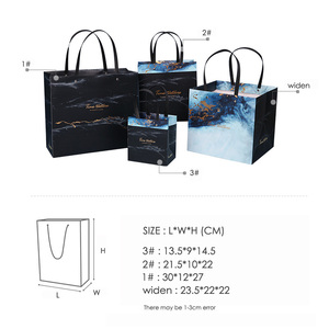 Image 5 - Sac cadeau marbré exquis en papier, sac cadeau daffaires Simple, sac pour les courses en papier, articles demballage, 1 unité