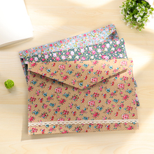 1Pc Stock Clear Korean Cute Floral Fabric File Bag A4 Size Paper Storage Bag File Folder with Button School Office Supplies