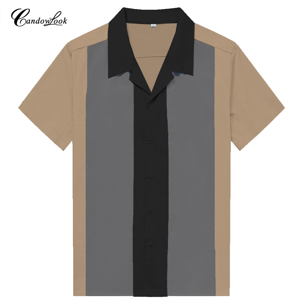 Plus Size XXXL Mens Casual Work Shirts Vintage Color Block Top Button Up Bowling Shirt