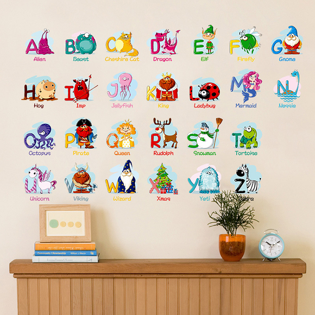 Delightful Creative Puzzle Early Learning English Letters Wall Stickers Animals Decals  Kids Room Decor Nursery School Diy Removable
