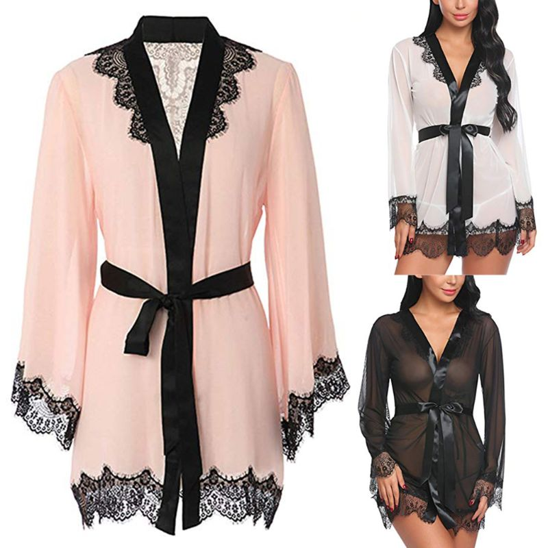KLV 2019 Sexy Women Through Mesh Lingerie Bath Robe Contrast Color Eyelash Floral Lace Patchwork Nightgown Satin Belt Sleepwear(China)