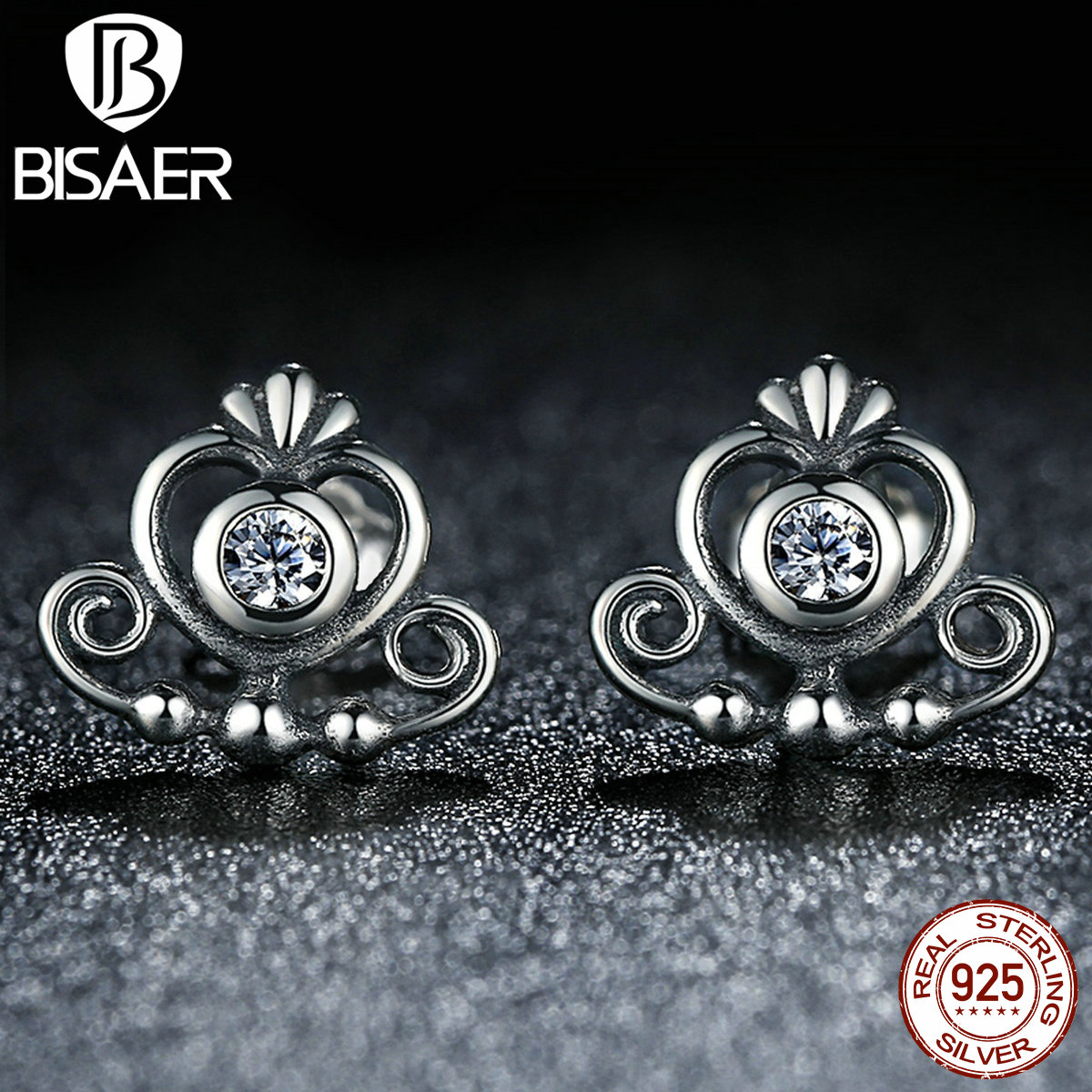for quality high stud products jewelry sterling princess women earrings fashion silver crown collections clear luminous bamoer cz