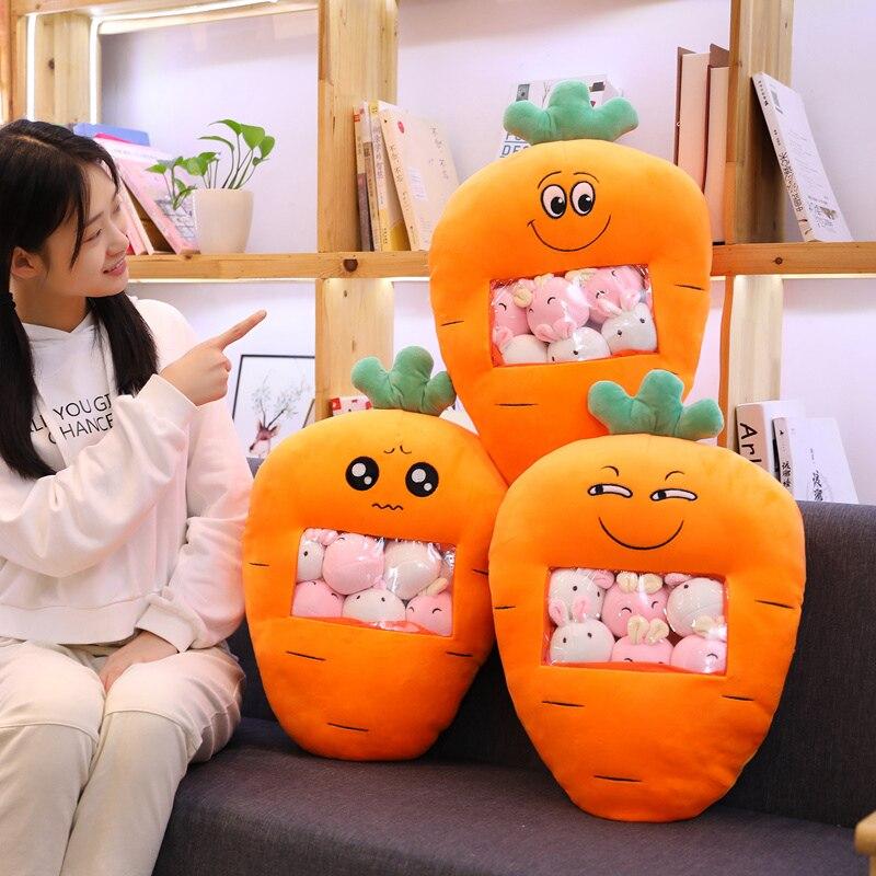 A Bag Of 8pcs Carrot Plush Toys Simulation Snack Throw Pillow Kawaii Sakura Rabbit Dinosaur Plush Creative Toys For Children