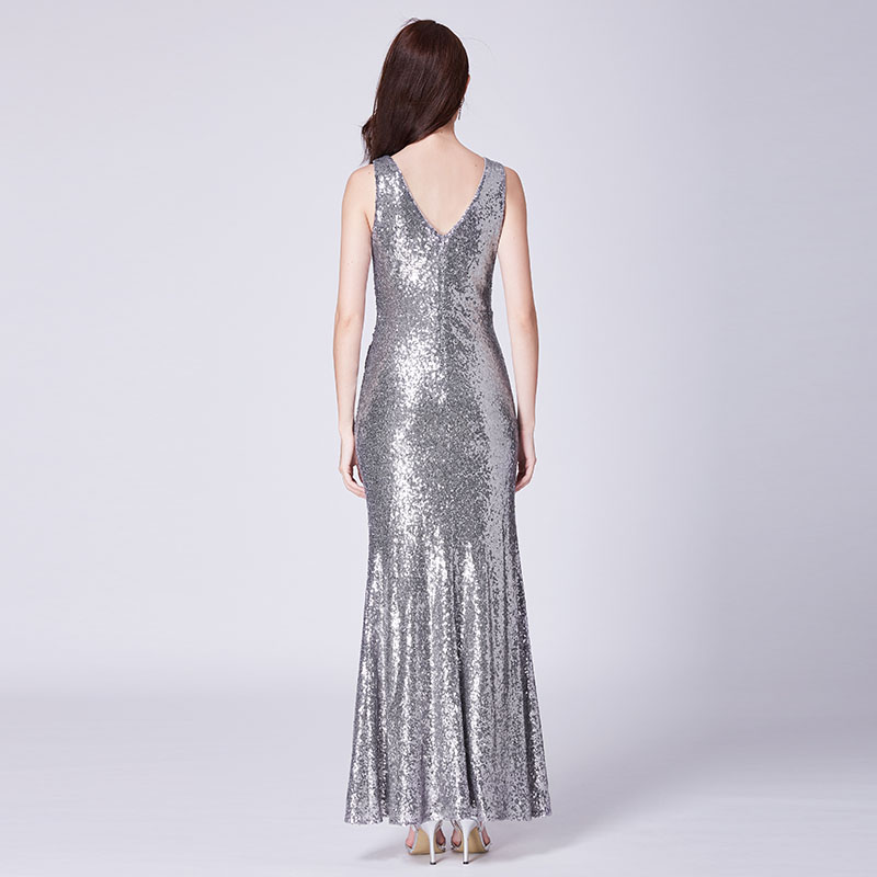 Rose Gold Prom Silvers: Formal Evening Dresses V Neck Ever Pretty EP07405 Long