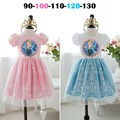 2017 Lace snow short sleeve Children's elsa dress Casual Dress cartoon tutu pink blue girls Casual dress ,tutu princess 2-3Y