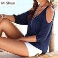 2016 Nova Camisa Das Mulheres T de Três Quartos Decote Em V Profundo Sexy fora Do Ombro Camisa Sólida Casuais AutumnTee Shirt Mulheres Tops 3 Cor S-XL