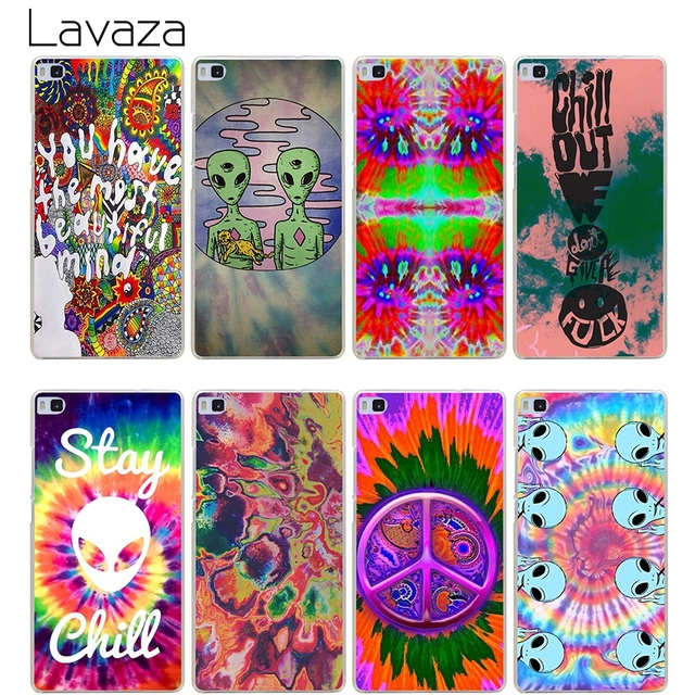 Lavaza Trippy Tie Dye Peace Sign Alien Case For Huawei Honor Mate 7a