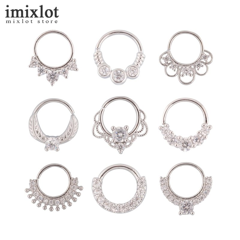 1 Piece Nose Piercing Ring Fake Septum Ring Clicker Nose Rings Piercing Body Jewelry Hoops Helix Piercing Ear Cartilage Gifts Пирсинг ушей