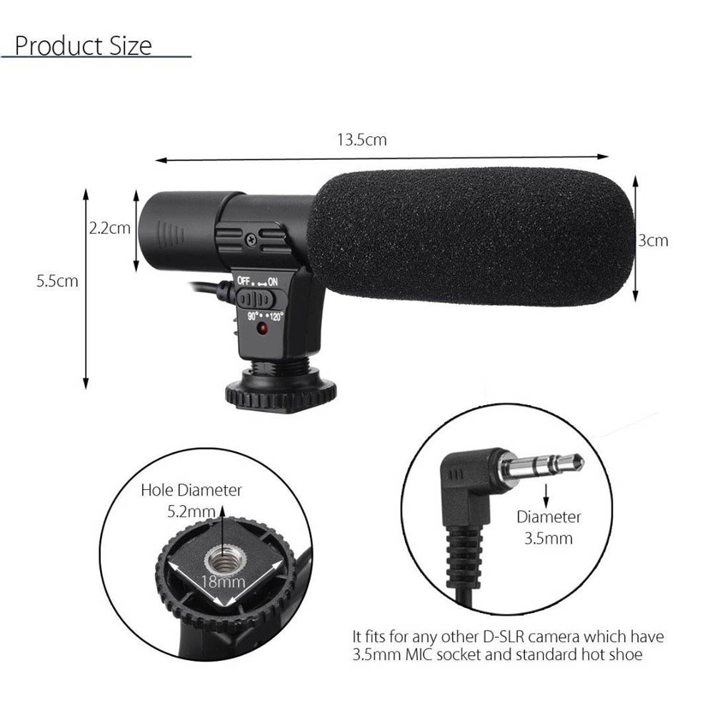 External Stereo Microphone Mic for Canon Nikon DSLR Camera DV Camcorder