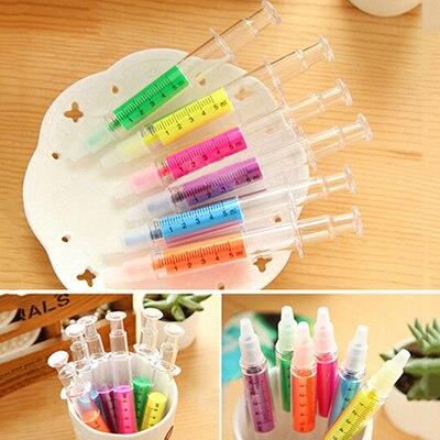 1PCS Newly Kids Ink Different Nurse Needle Syringe Shape Highlighter Marker Pen Funny Drawing Pen Kids Toys Random Color