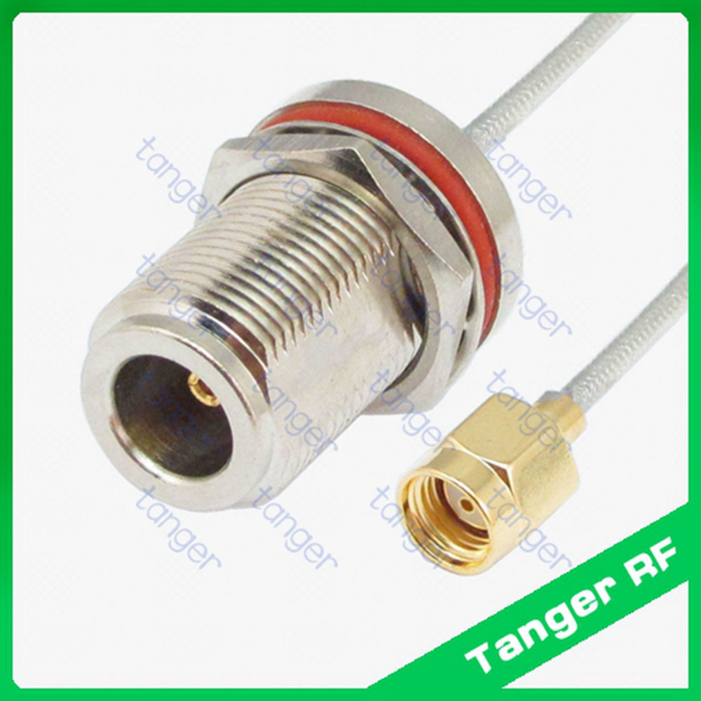 Tanger RP-SMA male to N female bulkhead connector with RF RG405 RG086 Coaxial Jumper Semi Flex cable 8inch 8 20cm Low Loss Coax mcx male right angle to n female bulkhead with o ring cable rg316 for wireless rf coaxial jumper cable connector