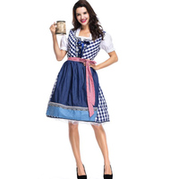 Women Oktoberfest Costume Bavarian Maid Dress Party Female Oktoberfest Dress Beer Costume Top quality Blue plaid Girls Cosplay