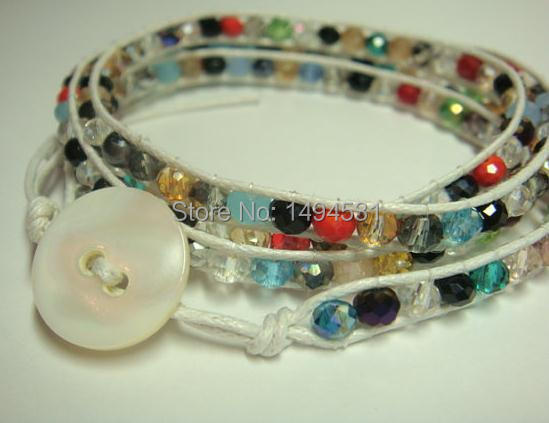 Crystal Wrap Bracelet - Multi-Color Faceted Crystal Wrap Bracelet 4 Rows With White Button Shell Clasp,Handmade Party Jewelry.