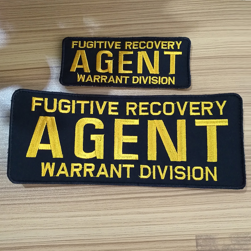 Fugitive Recovery Agent Warrant Division Embroidery Patch 4x10 & 2.5x6 Hook Badage 2 Pcs A Set