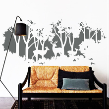цена на Free Shipping 2015 NEW Design Art deers in forest wall sticker Trees Home decor Creative Vinyl Cheap Removable Wall decals