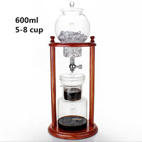 drip coffee pot sets 600ML high capacity wooden frame glass coffee pot drip filter coffee pot ice drop coffee filter tool