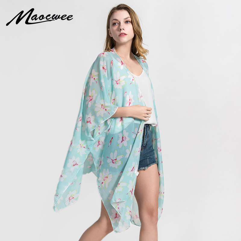 Women Summer Printed Long Soft   Scarf     Wrap   Shawl Stole Beach Pashmina   Scarves   Printed Chiffon   Scarf   Lily Flower Sunscreen   Scarves