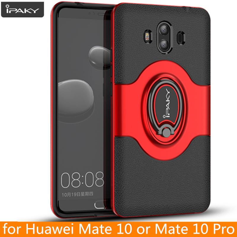 for Huawei Mate 10 Ring Case Magnetic Car Air Vent Holder iPaky Mate 10 Holder Luxury Kickstand Case for Huawei Mate 10 Pro Case
