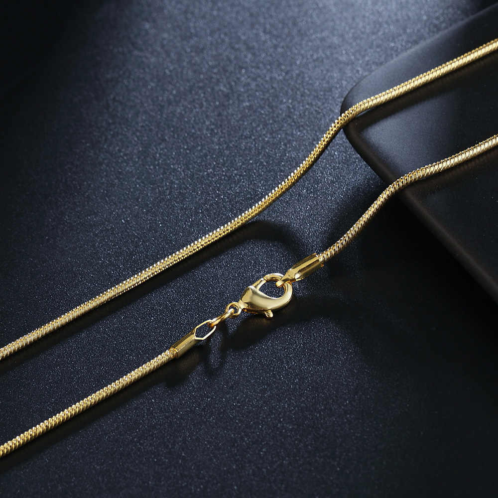 חם מכירות סיטונאי הקמעונאי 16 18 20 22 24 26 28 30 אינץ יפה אופנה זהב צבע 2 MM נחש שרשרת 40-75 cm תכשיטי חותמת 18 K