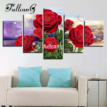 FULLCANG Diy 5PCS Full Square Diamond Embroidery Red Roses Flowers 5D Diamond Painting Cross Stitch Mosaic Painting G069 fullcang horses diy full square diamond embroidery 5pcs diamond painting cross stitch mosaic g608