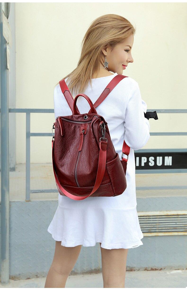 Female backpack mochila feminina casual Multifunction Women Leather Backpack Female Shoulder Bag Sac A Dos Travel Back Pack