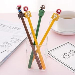 Image 4 - 30 pcs/lot Super Mario Gel Pen for writing Cute black ink Signature Pen Escolar Papelaria School Office Supply Promotional Gift