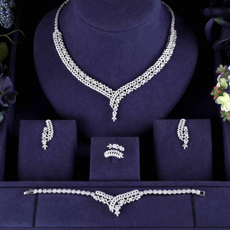 jankelly Hotsale African 4pc Bridal Jewelry Sets New Fashion Dubai Necklace Sets For Women Wedding Party Accessories Design