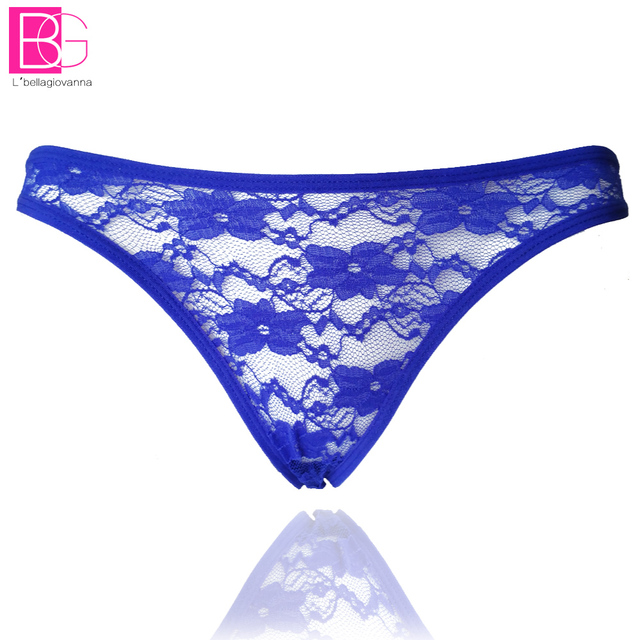 L'bellagiovanna Women's G String Lace Striped Thong Female Underwear Briefs See Through Tangas Calcinhas Bragas 8005