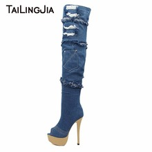 New Fashion Denim Fabric Peep Toe Woman Blue Over Knee Boots With Platform Woman Boots Extremely High Heel Ladies Long Boots