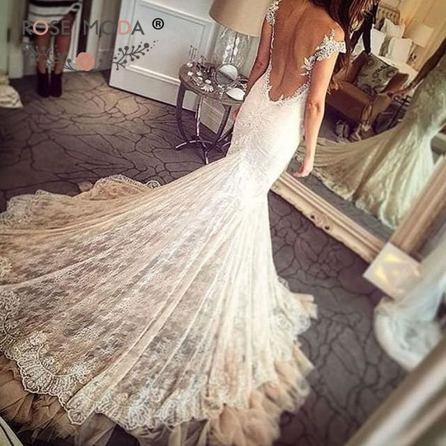 Sexy Deep Sweetheart Neck Short Cap Sleeves Chantilly Lace Mermaid Wedding Dress Pearl Beaded Illusion Back