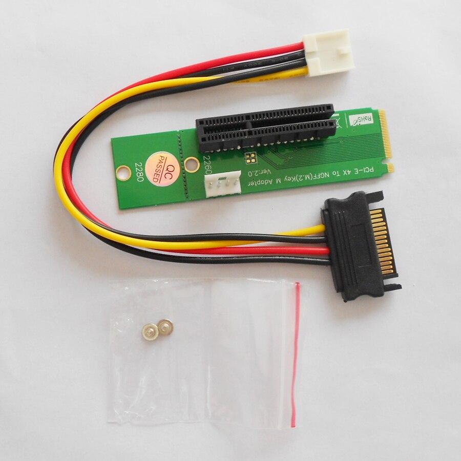 bilder für 100 Sätze/lose PCI-E 4X Zu NGFF (M2) schlüssel M Adapter Netzteil Adapter Stecker NETZTEIL board für Miner BTC ETH Starten Extender