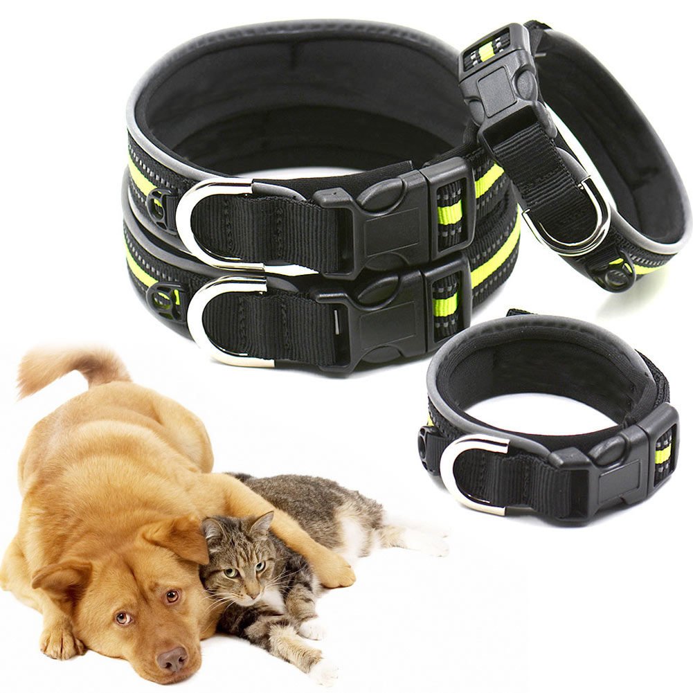 Pet Collar With Reflective Strip Nylon Cat Dog Night Safety Comfortable Adjustable Dogs Collars Pet Supplies TB Sale