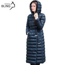 2016 Snow Winter Down Jacket Women Coat 90 % White Duck Down with Belt Longer Knee Women's Hooded Double Breasted Jackets