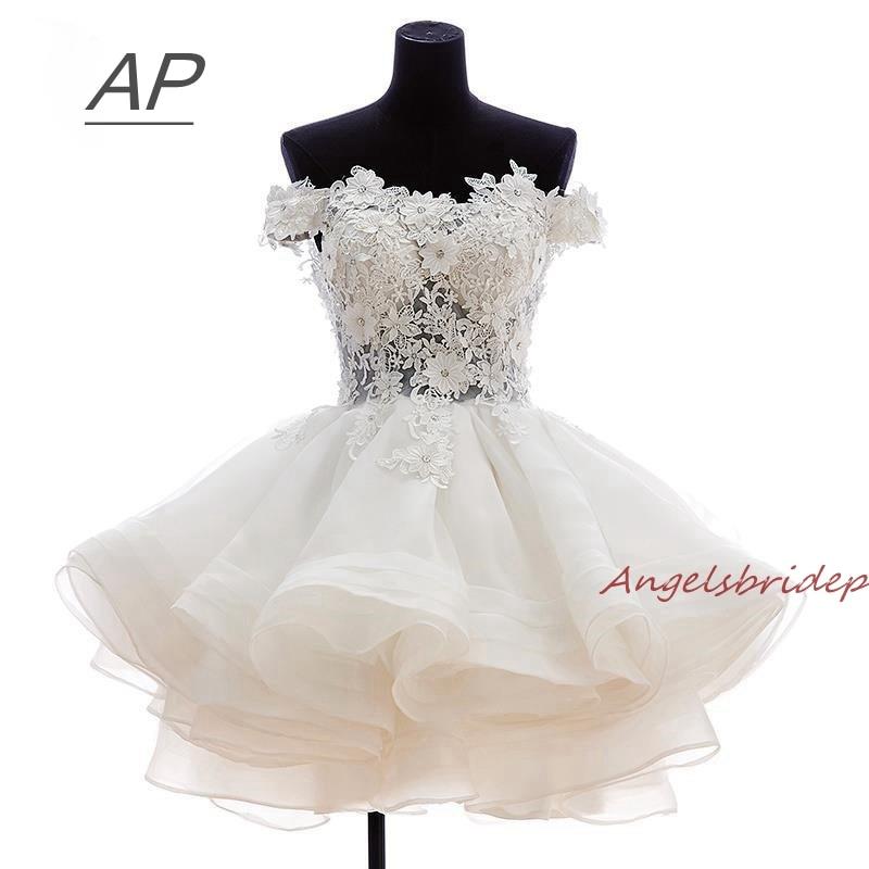 ANGELSBRIDEP ショートウエディングドレス 2019 Vestido デ · フェスタ Fashional オフショルダーアップリケオーガンザ特別な日のパーティー Ds  グループ上の ウェディング & イベント からの プロムドレス の中 1