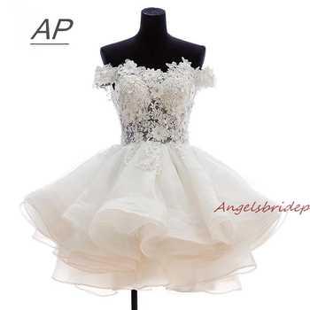 ANGELSBRIDEP Short Prom Dresses 2019 Vestido De Festa Fashional Off-Shoulder Applique Organza Special Occasion Party Ds - DISCOUNT ITEM  17% OFF Weddings & Events