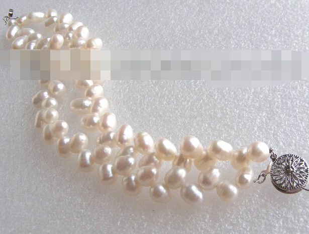 FREE SHIPPING>>>@@ > 03768 Butterfly double white nautral pearls bracelet