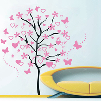 Huge Cartoon Heart Tree Butterfly Wall Decals Removable Wall Decorative Stickers for Girls Kids Living Room Bedroom Decor