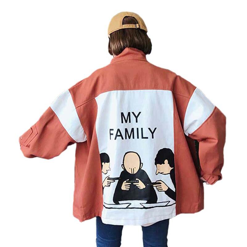 Casual Bomber Jacket Harajuku Unisex Windbreaker Jacket Coat Loosen Printed Baseball Jacket Student Hot Sale Plus Size Jackets