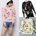 Women Sweater 2015 Autumn And Winter New Fashion Knitted Fruit Sweaters Hand Embroidery Pullover Women Sweaters And Pullovers