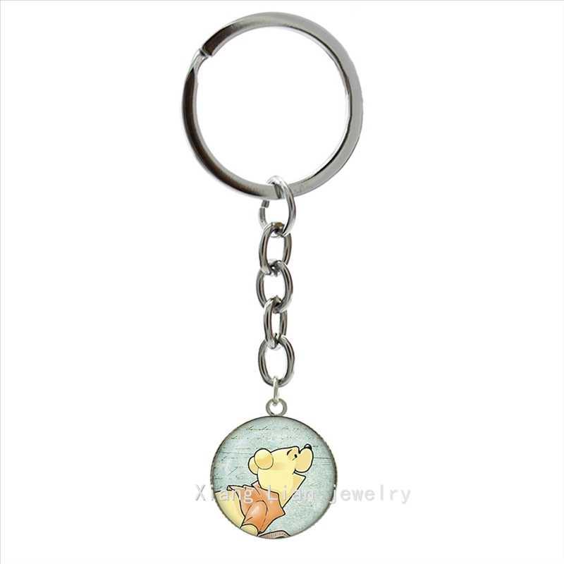 TAFREE อินเทรนด์สัตว์สัญลักษณ์พวงกุญแจน่ารักการ์ตูนหมี Winnie Art จี้แหวนเครื่องประดับแก้ว Cabochon Key CHAIN ของขวัญเด็ก NS435