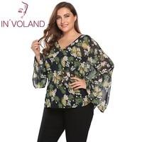 IN VOLAND Women Chiffon Blouse Blusas Plus Size L 4XL Autumn Long Flare Sleeve Floral Large