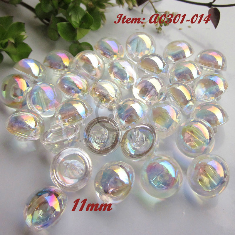 Acrylic <font><b>buttons</b></font> 60pcs 11mm / <font><b>10mm</b></font> White Transparent AB color acrylic mushroom <font><b>buttons</b></font> imitation crystal <font><b>buttons</b></font> image