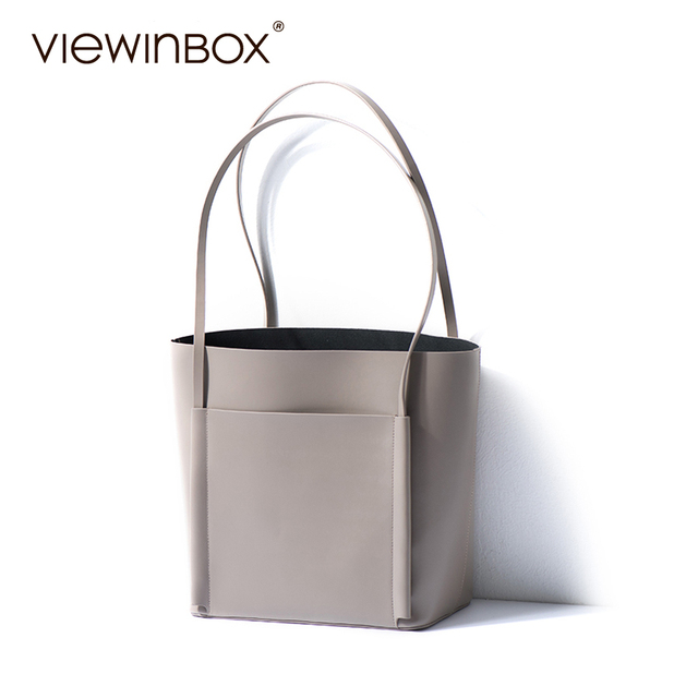 Viewinbox 2018 New Stylish High Quality Las Cowhide Leather Tote Handbag Designer Office Bags For