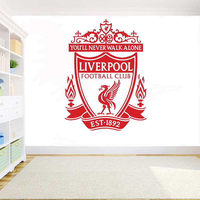 Europe Football Club Logo Wall Sticker Liverpool England's Top Club Vinyl Decal Kids Room Bedroom Home Decoration Wall Decal D13