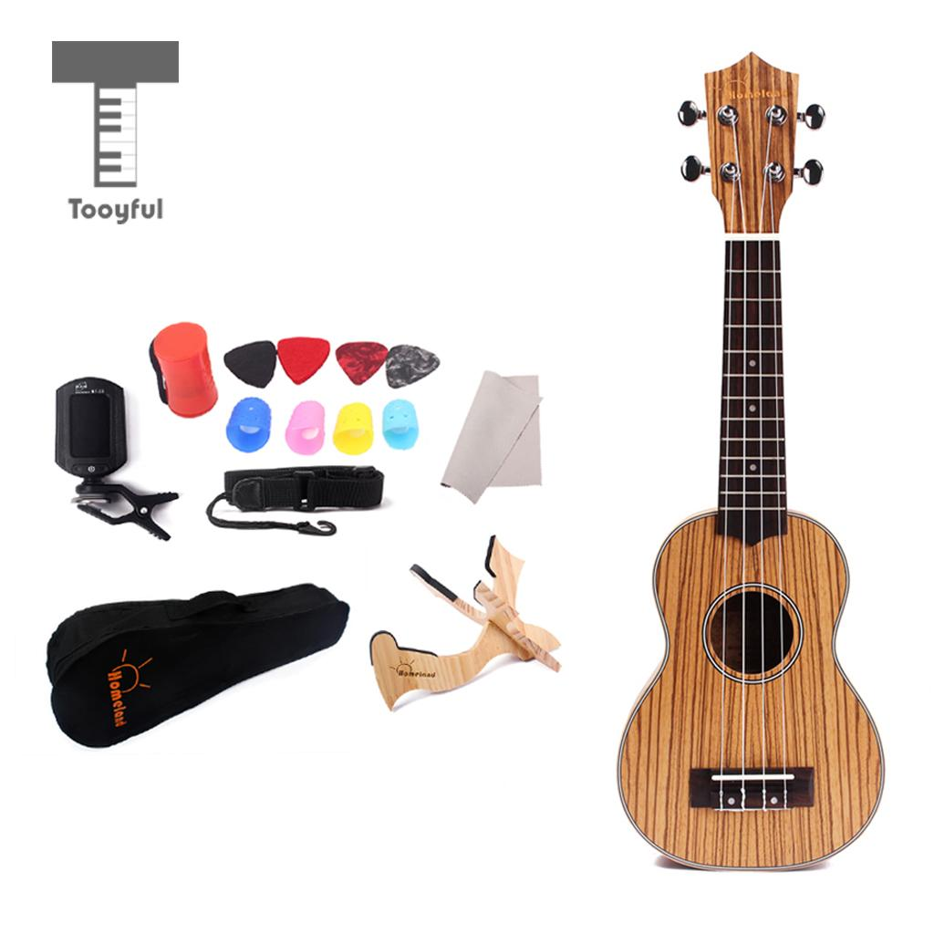 21'' Zebrawood Soprano Ukelele 4 String Hawaii Mini Guitar Nylon Strings with Storage Bag Case for Party Gathering Accessory classical guitar strings set 6 string classic guitar clear nylon strings silver plated copper alloy wound alice a108