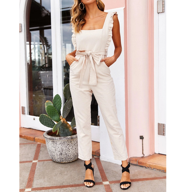 Women 2019 Sexy Linen Shirred Frill Sleeves Pocket Jumpsuit Ladie Belte Summer Holiday Party Pink belt Jumpsuit