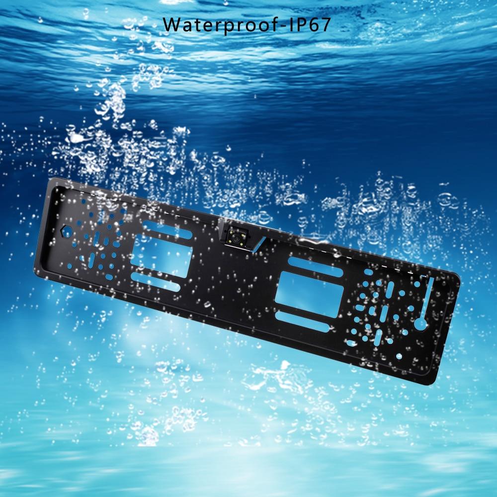 lowest price Podofo Car Rear View Camera Waterproof EU European License Plate Frame Parktronic Reverse 4 LED Night Vision Backup Camera