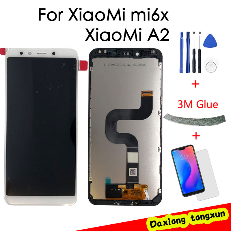 2160*1080 AAA Quality LCD With Frame For <font><b>XiaoMi</b></font> <font><b>Mi</b></font> <font><b>A2</b></font> <font><b>MIA2</b></font> LCD Display Screen Replacement For <font><b>XiaoMi</b></font> 6X LCD digitizer Assembly image