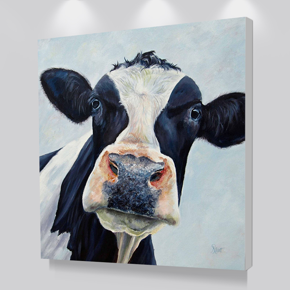 Modern Cute Cow Wall Art Picture Printed Canvas Oil Painting On Prints Dropshipping Cheap Posters Prints For Living Room